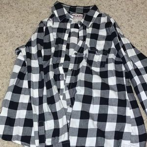 Black and white plaid button down.